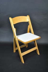 LA Party Rental Natural Wood Padded Chair