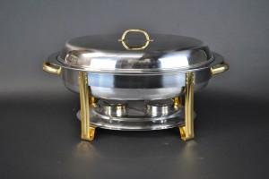6 Qt. Oval Chafing Dish - Gold Trim