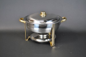 4 Qt. Round Chafing Dish - Gold Trim