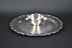 Silver Tray with Dip Bowl