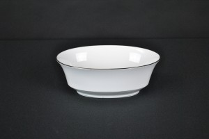 Silver Rim Oval Vegetable Bowl