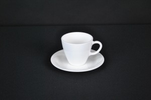 White Contemporary Cup & Saucer